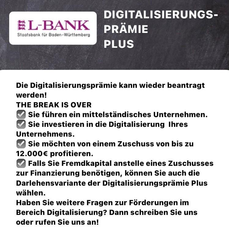 L-Bank Digitalisierungsprämie Plus News